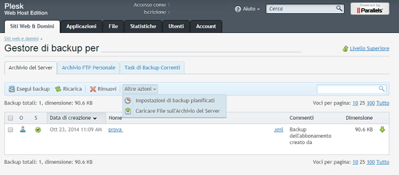 Plesk, come creare e gestire i backup dell'hosting