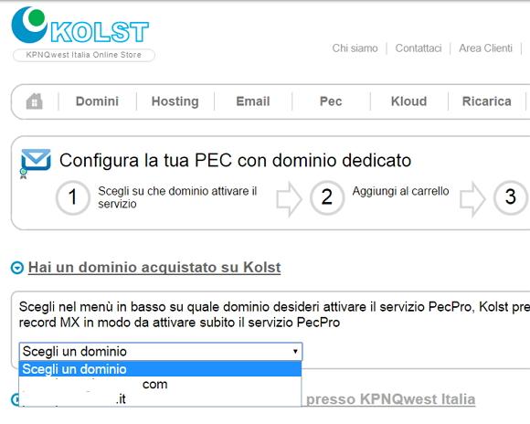 Come attivare una PEC con Kolst su un dominio personalizzato