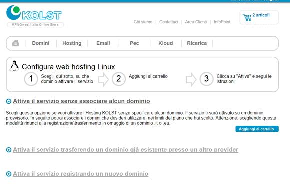 Piani Web hosting KOLST e l'attivazione senza dominio